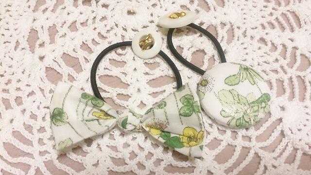 リバティ ジョセフィンズ・ガーデン リボン&くるみボタンヘアゴムセット