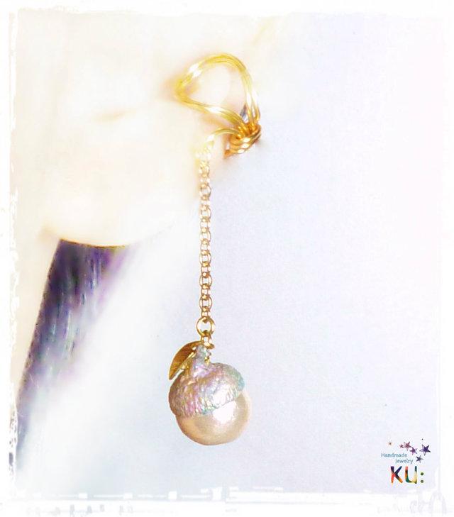 どんぐりイヤーカフ*Cotton Pearl*2