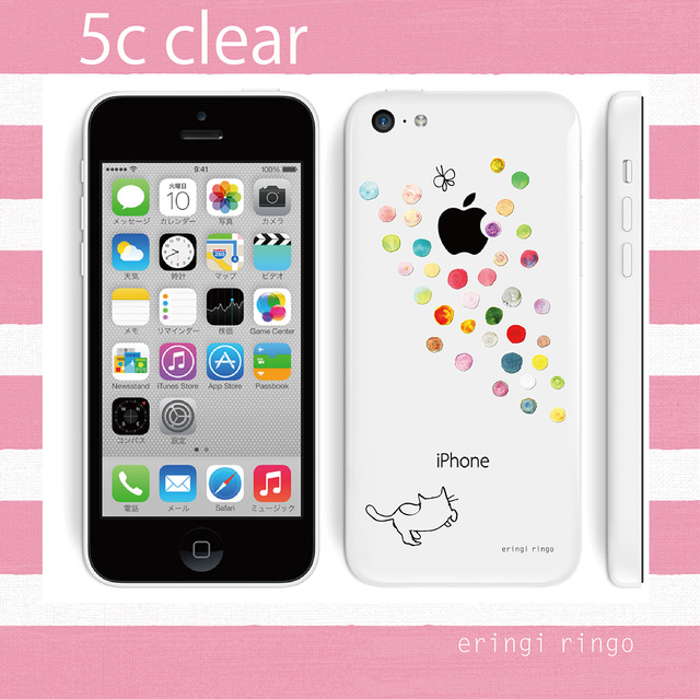 【S様再販ご依頼分】水玉とりんごを追う猫 iPhone case(5c)