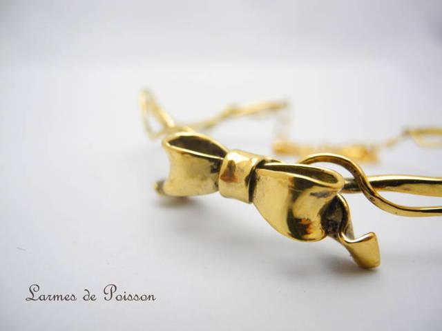 リボンのブレスレット ゴールド