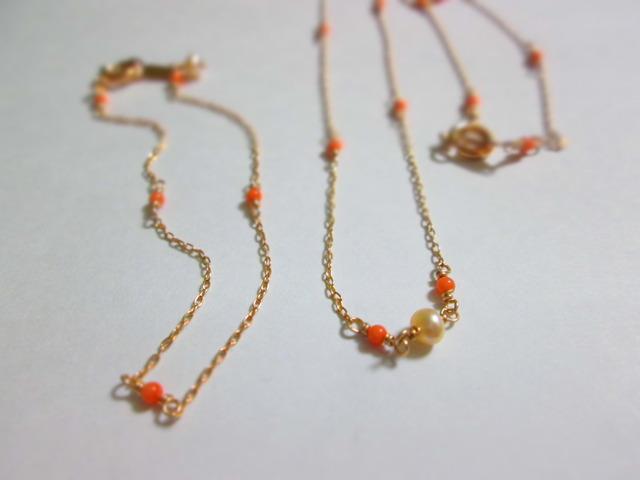 《送料無料》華奢珊瑚ネックレス&ブレスレットセット