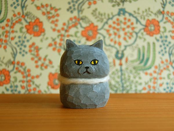 木彫り人形 ブリティッシュショートヘア [MWF-158]