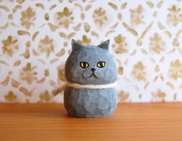 木彫り人形 ブリティッシュショートヘア [MWF-159]