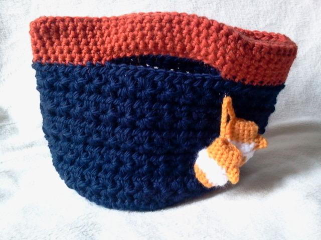 バイカラーバッグ(オレンジ×ブルー)ちび手袋付