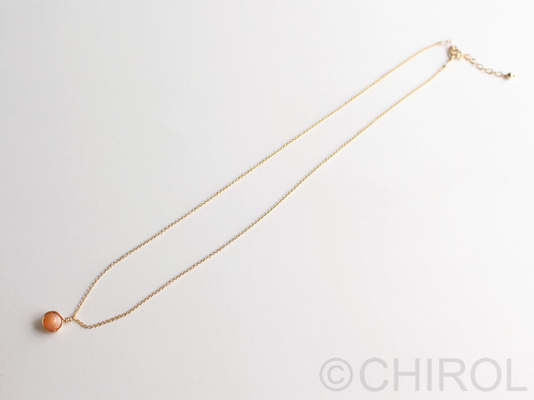 シンプル ムーンストーン(オレンジ) ネックレス/ 14kgf