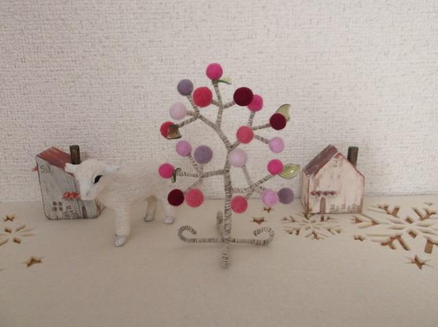 羊毛フェルト ボールツリー(ピンク系)
