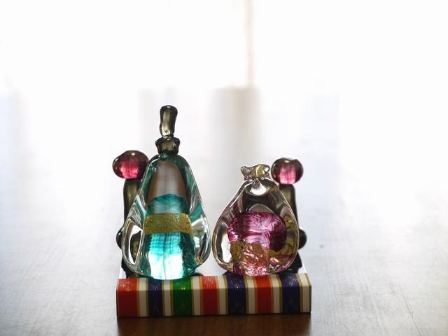 ガラスのペンギンお雛様 New(ターコイズブルー&ピンク)