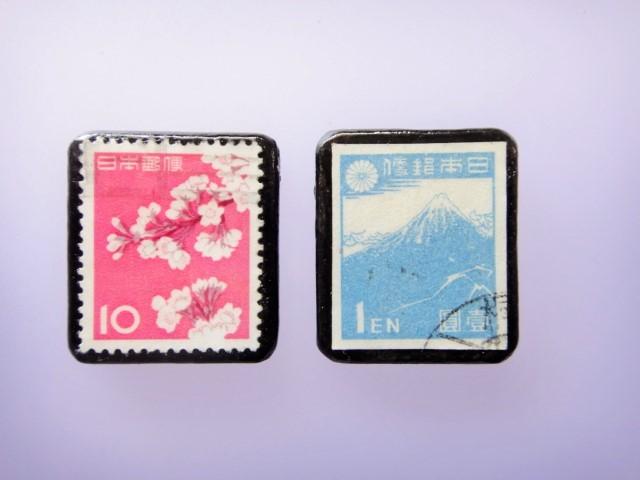 日本 桜、富士 切手ブローチセット 853