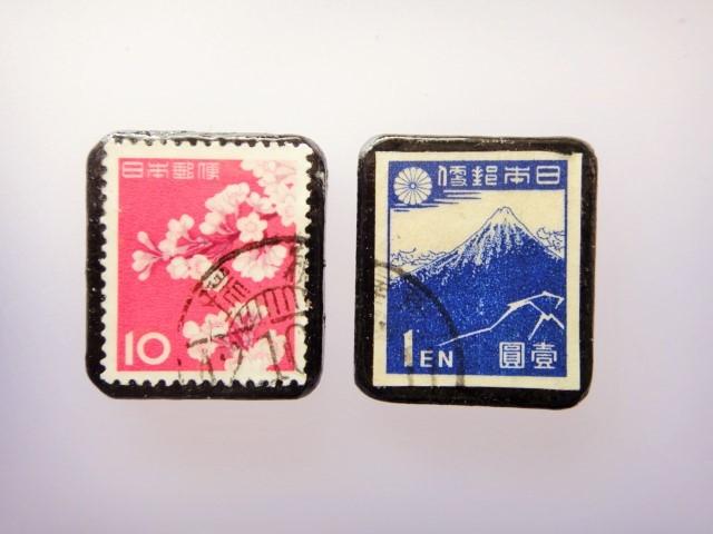 日本 桜、富士 切手ブローチセット 856