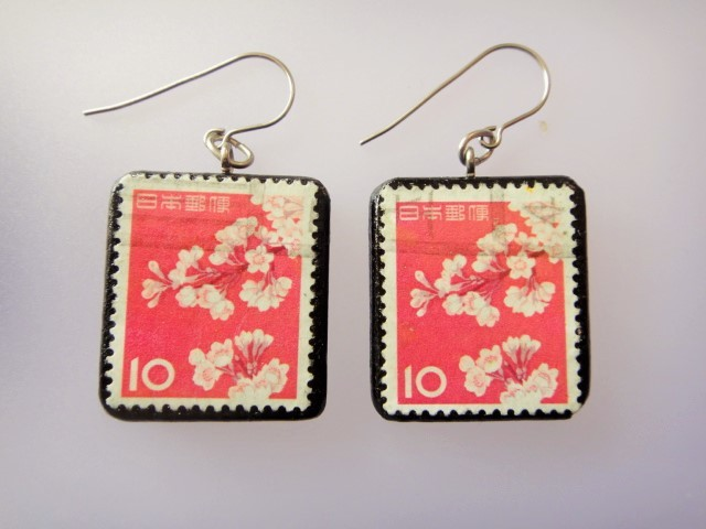 日本 桜切手ピアス 858