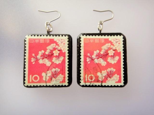 日本 桜切手ピアス 860