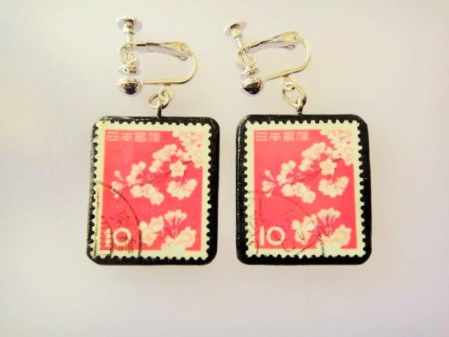 日本 桜切手イヤリング 862
