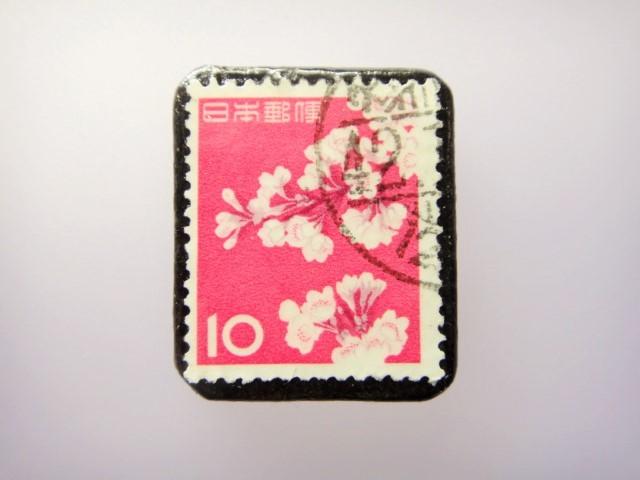 日本 桜切手ブローチ 863