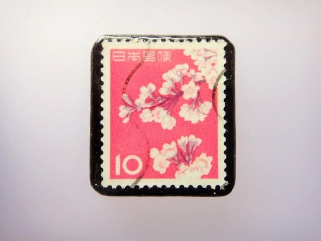 日本 桜切手ブローチ 865