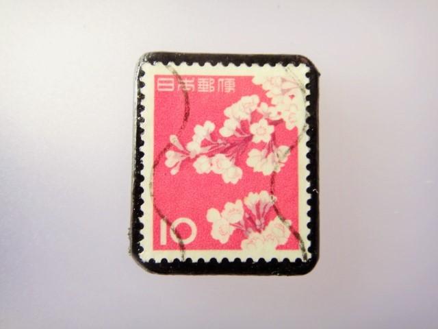 日本 桜切手ブローチ 866