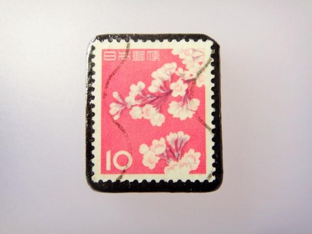 日本 桜切手ブローチ 867