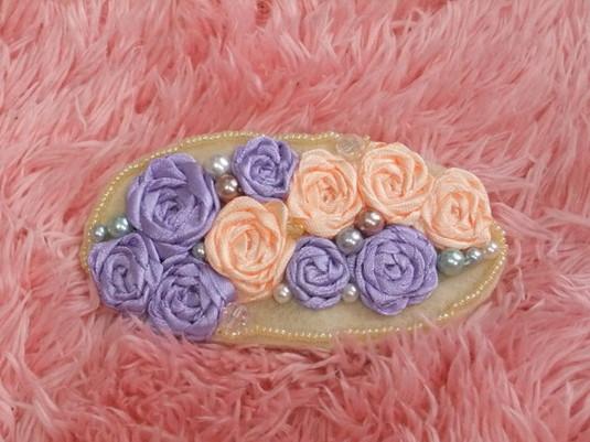 オレンジと優しい紫のバラのヘアアクセ