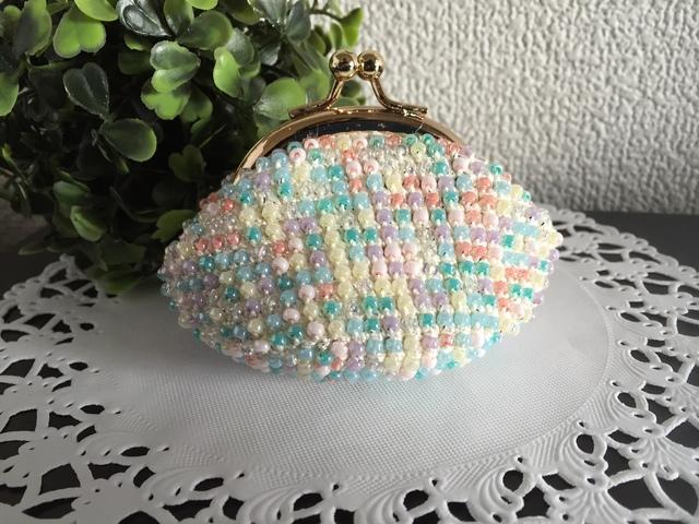 ♪かわいいビーズ編みのがま口(ホワイト)♪