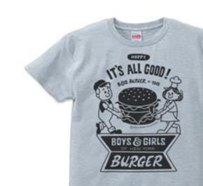 ハンバーガー&BOY&GIRL XS(女性XS〜S)   Tシャツ【受注生産品】
