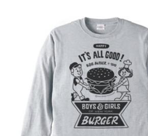 ハンバーガー&BOY&GIRL 長袖Tシャツ【受注生産品】