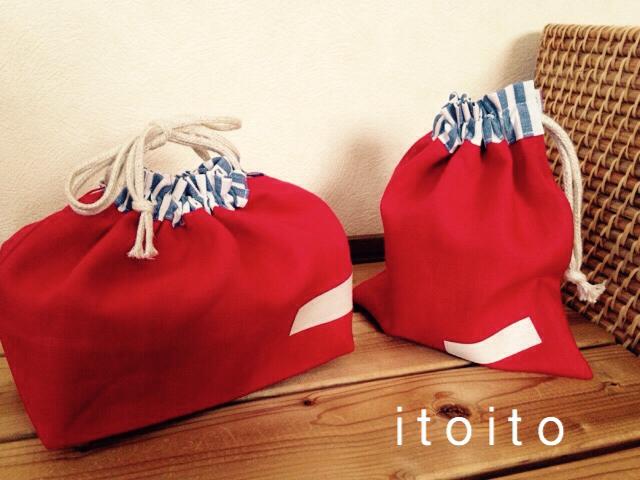 リネンのお弁当袋・コップ袋セット 赤×ストライプ