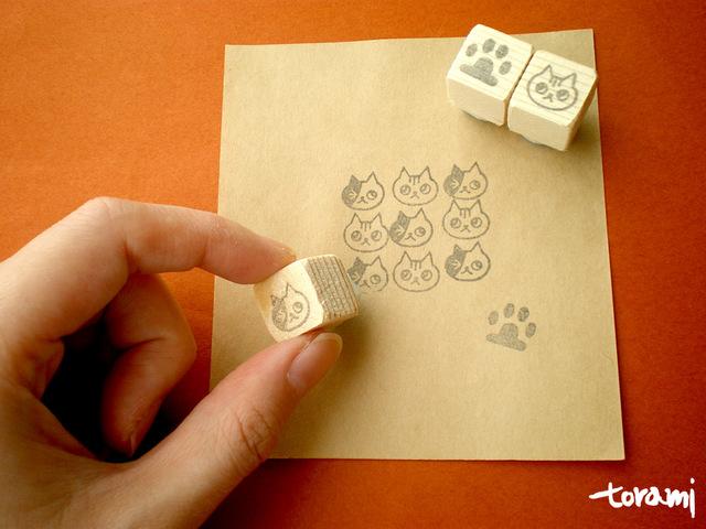 猫の顔+肉球のはんこセット33