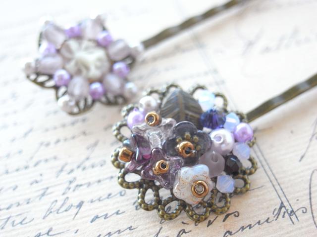 紫陽花の様な紫ビーズのヘアピン2本セット