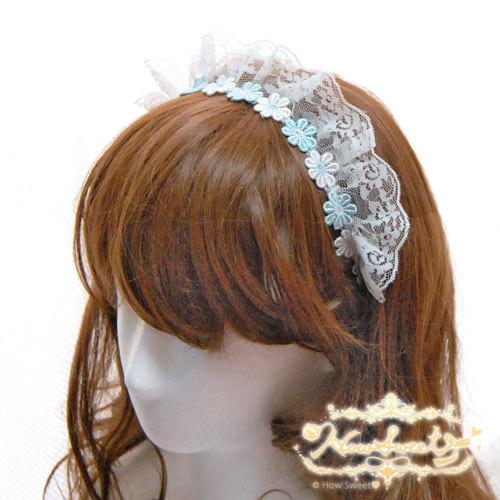 【HowSweet*】お花のケミカルレースカチューム[水色×白](フリル付)