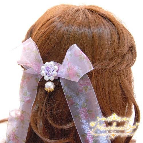 【HowSweet*】ローズオーガンジーリボンヘアクリップ[lavender]