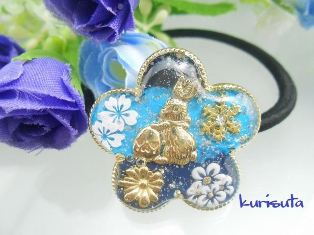 【セール】花のヘアゴム ラムネブルー 卵うさぎと桜と花と雪の結晶