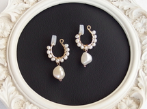 [14kgf] 2WAY Spiral gems : pearl earrings