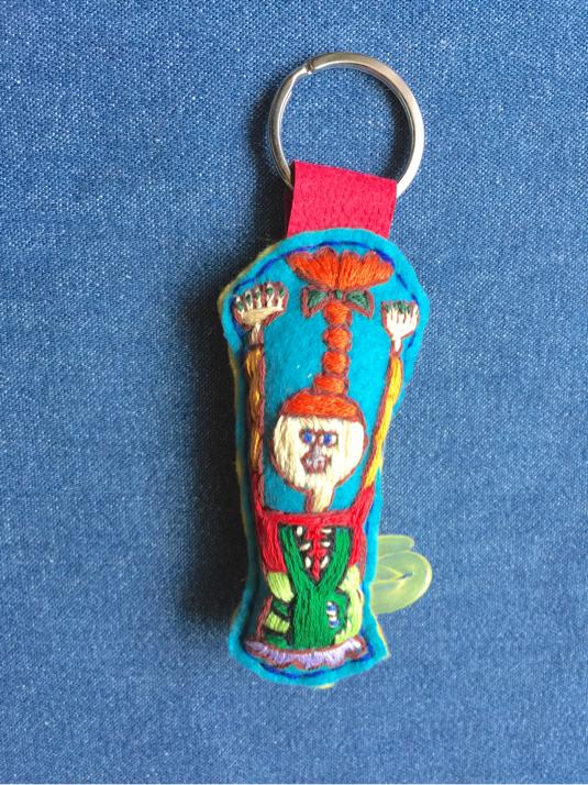バンザイ ワニ 刺繍キーホルダー