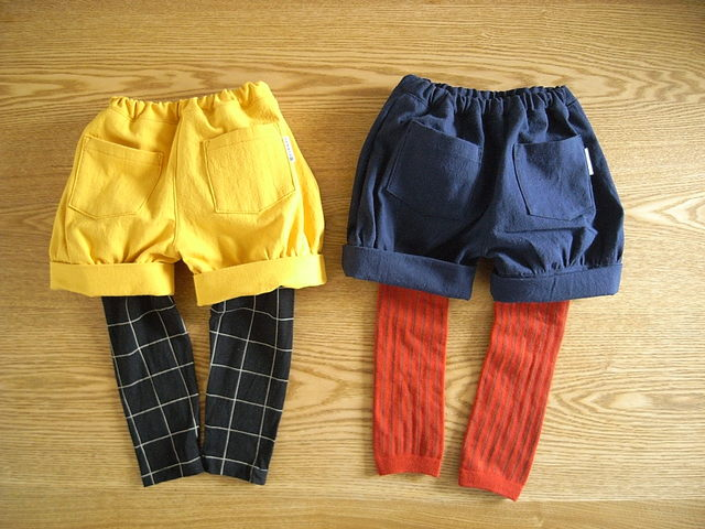 リネンキャンバスのショートパンツ*80サイズ:ネイビー