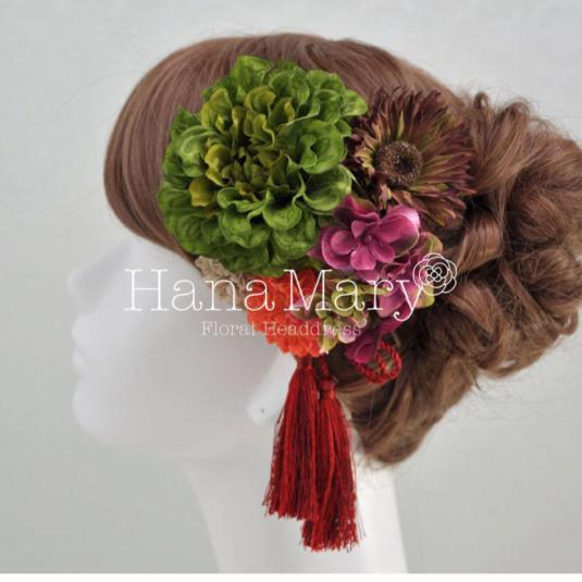 渋めカラーダリアの髪飾り