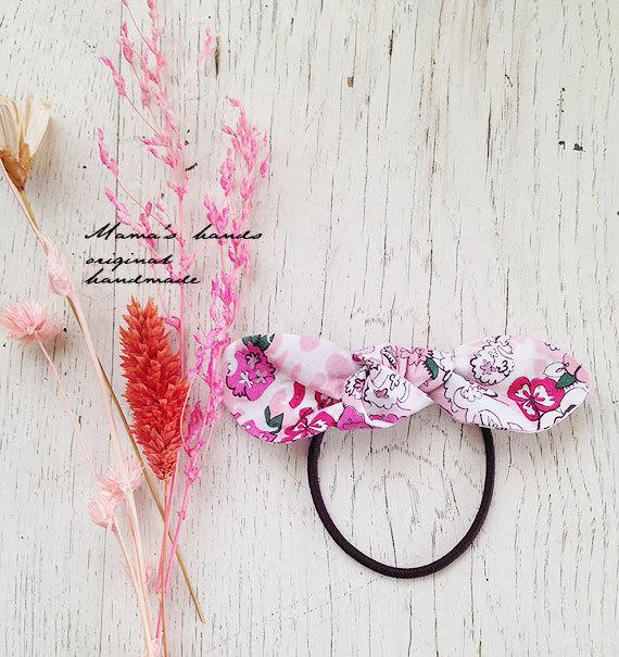 おしゃれな リバティ ピンク 花柄 リボン ヘアゴム♪