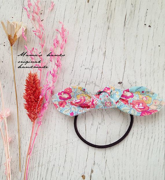 ★残りわずか★ リバティ ピンク 水色 花柄 リボン ヘアゴム♪