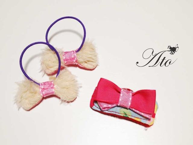 ベビー&KIDS☆ふわふわリボンのゴムとピン(ピンクサテン)