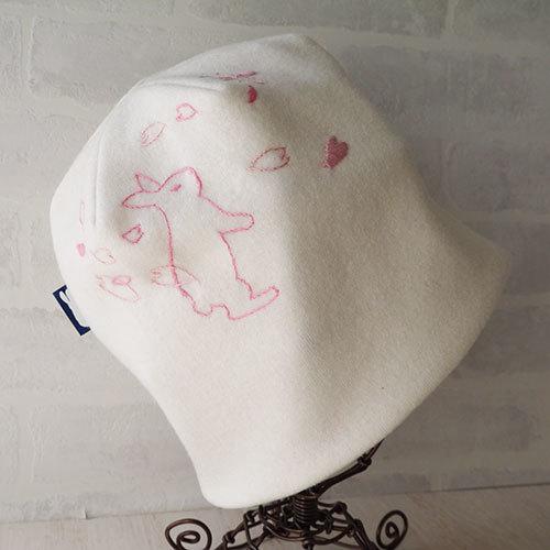 うさぎと桜の刺繍入りウールニット生地のニット帽