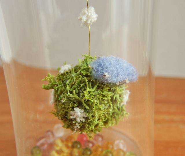 しあわせの青い鳥ボトル-L ♪花畑より(桃色)