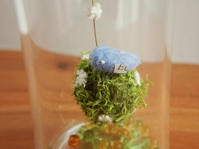 しあわせの青い鳥ボトル-L ♪花畑より(ミモザ)