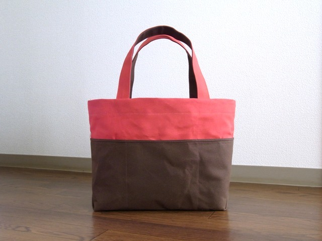 ��bicolor tote M�� red��brown