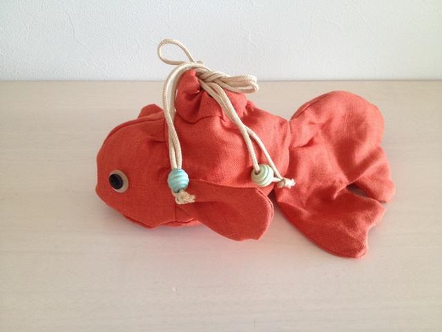 金魚の巾着(朱)