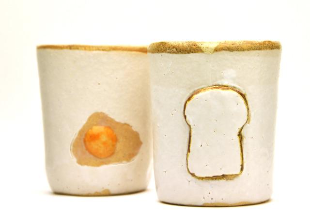 食パン印のコップ(卵つき)