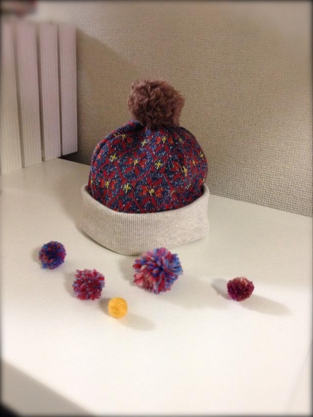 【再販】ラスト!ぽんぽんスノーキーニット帽◇46〜50