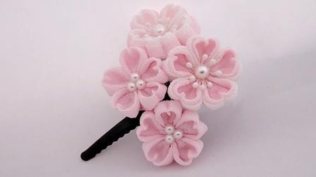 つまみ細工 桜のヘアピン