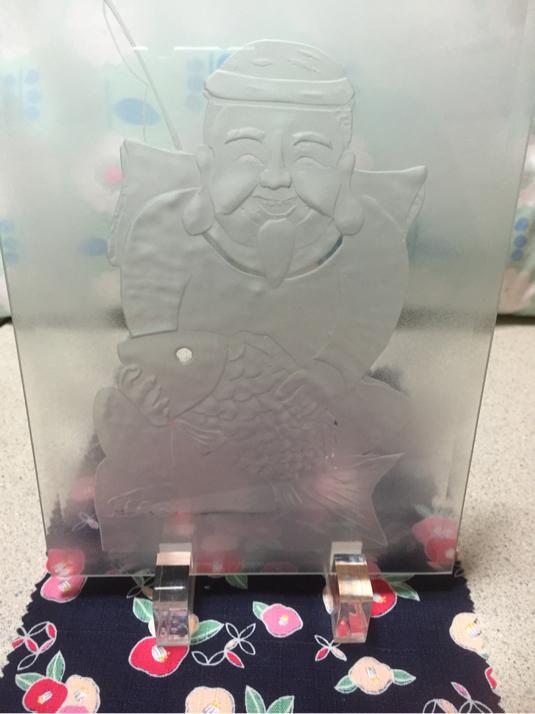 七福神◆優しい顔の恵比寿さま ガラス彫...