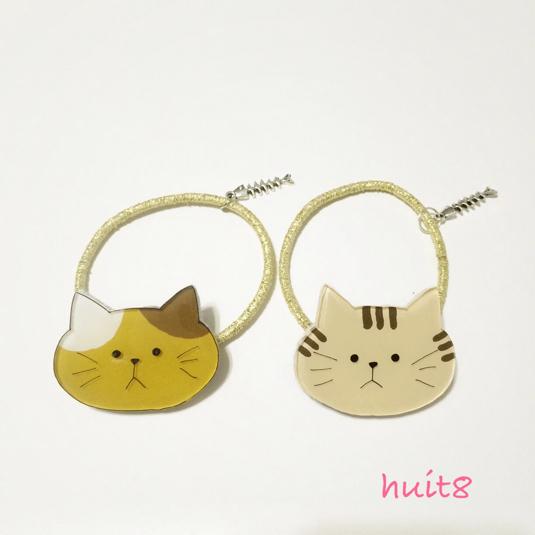 ねこのヘアゴム《プラ板》猫!ネコ!neco!?sweet