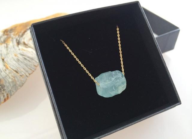 アクアマリン原石◇K10 Gold Necklace