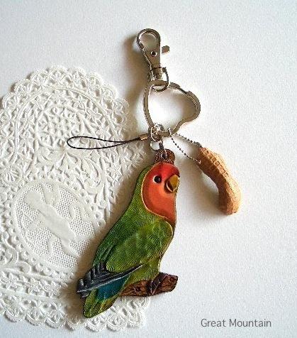 コザクラインコ 革 チャーム 小鳥 インコ 革 キーホルダー レザー ストラップ