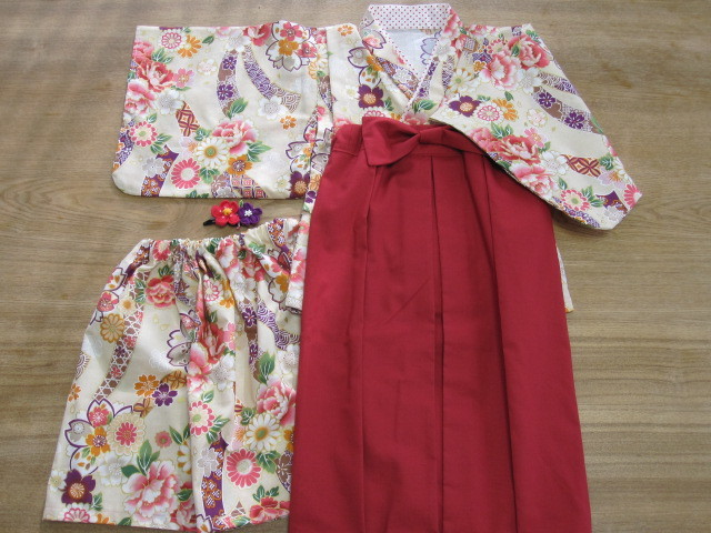 ayamili 様オーダー品100cm着物&袴風ロングスカート髪飾り